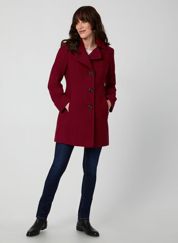 Anne Klein - Mid-Length Wool Coat, Red,  coat, mid-length, notched collar, button closure, wool blend, lined, long sleeves, Anne Klein, fall 2019, winter 2019