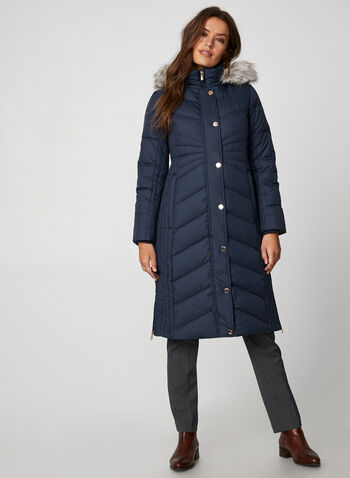 Anne Klein - Quilted Coat, Blue,  Anne Klein, coat, outerwear, down, faux fur, hood, zip down, snap placket, quilted, fall 2019, winter 2019