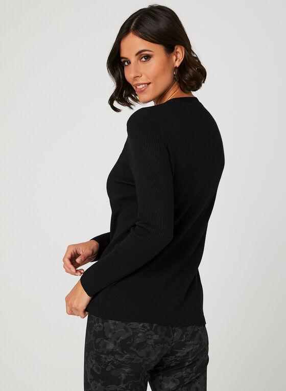 Elena Wang - Pull en tricot à encolure en V , Noir, hi-res