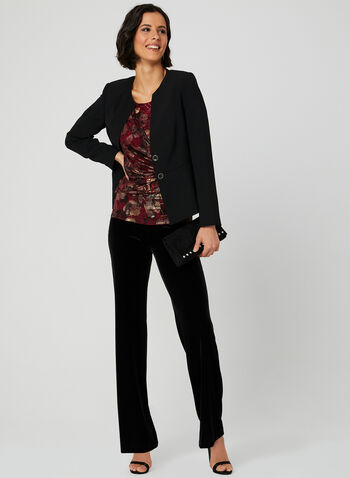 Metallic Floral Print Blouse, Red, hi-res