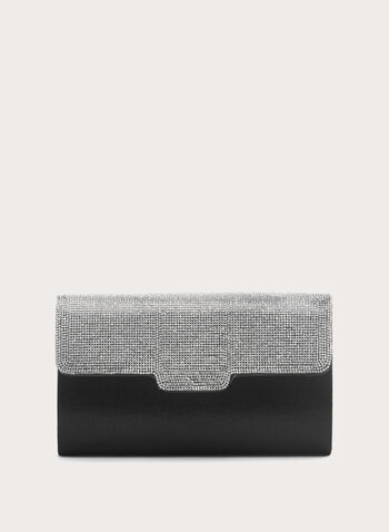 Two Tone Crystal Clutch, Black, hi-res