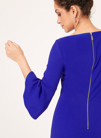 Jessica Howard - 3/4 Bell Sleeve Crepe Pencil Dress, Blue, hi-res