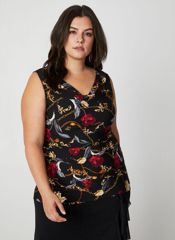 Rose & Chain Print Sleeveless Top, Black