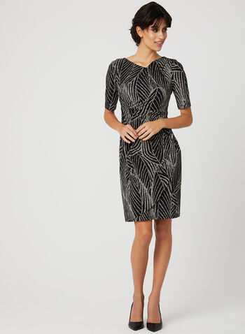 Abstract Print Jersey Dress, Black, hi-res