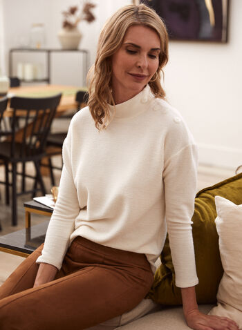 Button Detail Mock Neck Top, Off White,  fall winter 2021, made in Canada, mock neck, 3/4 sleeve, dolman sleeve, drop shoulder, button detail, knit, top, tunic, soft