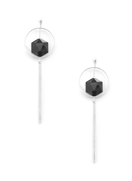 Boucles d'oreilles avec arceau, pierre et baguette, Noir, hi-res