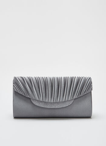 Pleated Satin Envelope Clutch, Silver, hi-res