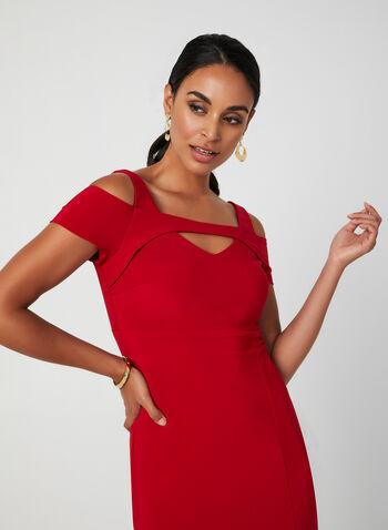 Robe à épaules ajourées , Rouge, hi-res,  robe de soirée, col ajouré, épaules ajourées, fente, jersey, automne hiver 2019