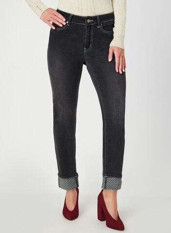Modern Fit Slim Leg Jeans, Black, hi-res,  jeans, denim, embellished, beads, modern fit, cropped, fall 2019, winter 2019