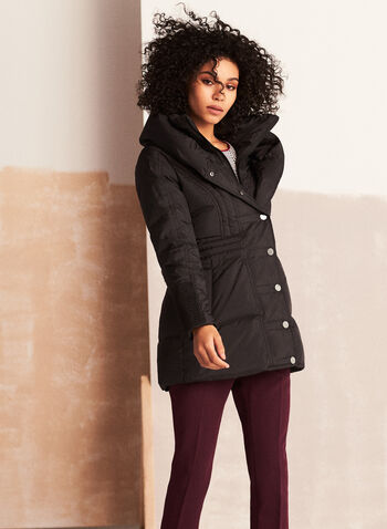 Manteau matelassé à grand col, Noir,  automne hiver 2020, manteau, matelassé, duvet, capuchon, poches, hydrofuge, végane
