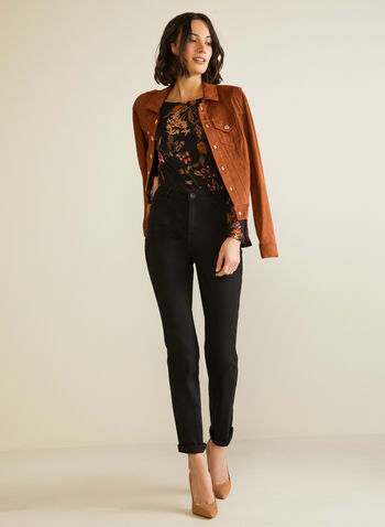 Floral Flare Sleeve Blouse, Black,  Fall winter 2020, blouse, print, jersey, long sleeve, button