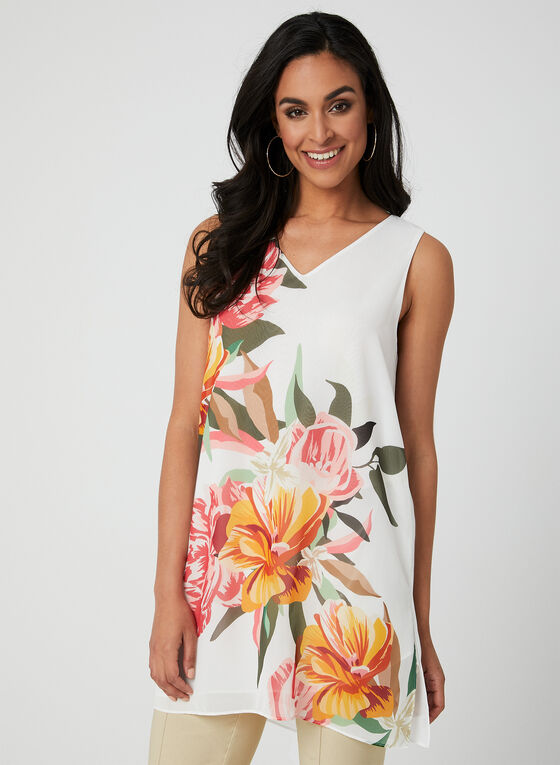 Floral Print Sleeveless Tunic, White, hi-res