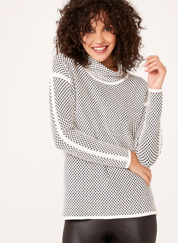 Dot Print Funnel Neck Sweater, Off White, hi-res
