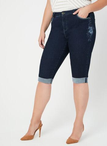 Modern Fit Embroidered Denim Shorts, Blue, hi-res,  spring 2019