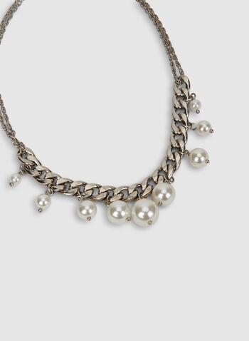 Collier à chaînes et perles, Blanc cassé, hi-res,  automne hiver 2019, collier, chaîne, perles, bijou, accessoire