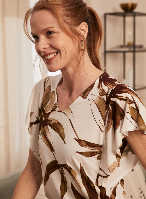 Tropical Print Short Sleeve Top, White