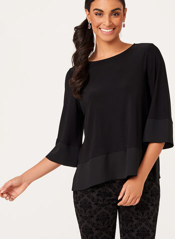 3/4 Sleeve Chiffon Trim Top , Black, hi-res