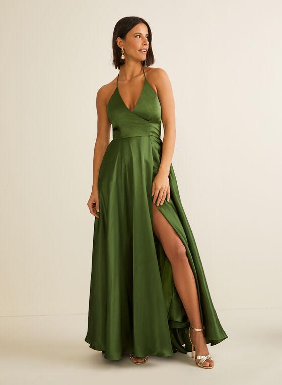 Robe satinée à fines bretelles, Vert