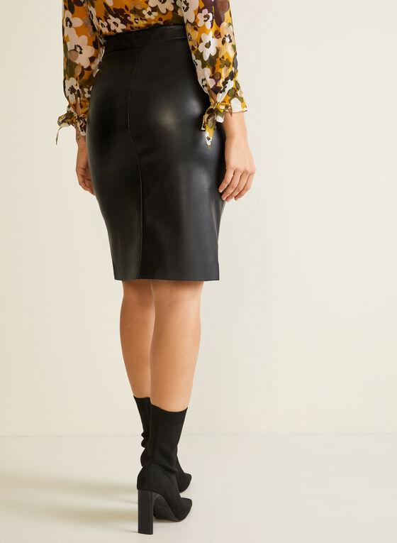 Faux Leather Button Detail Skirt, Black
