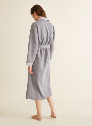 Claudel Lingerie - Long Cotton Blend Robe, Grey,  spring summer 2020, long sleeves, belted waist, quilted fabric, chevron print collar