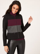 Colour Block Ponte Jacket , Black, hi-res