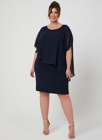 Chiffon Jersey Poncho Dress, Blue, hi-res