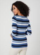 Alison Sheri - Pull rayé en tricot à manches ¾ , Bleu, hi-res