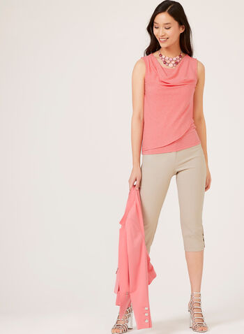 Sleeveless Drape Neck Top, Orange, hi-res