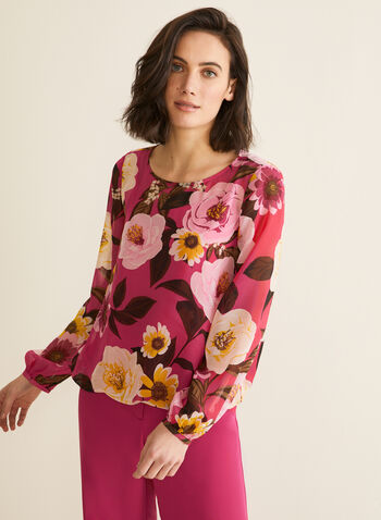 Floral Chiffon Blouse, Multi,  top, blouse, balloon sleeves, floral, scoop neck, spaghetti straps, camisole, chiffon, jersey, spring summer 2020