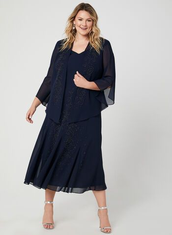 Beaded Crepe Dress & Top Set, Blue, hi-res