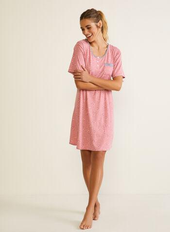 Short Sleeve Nightshirt, Pink,  fall winter 2020, pyjama, nightshirt, pocket