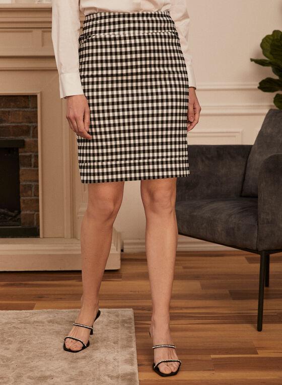 Checker Print Pencil Skirt, Black