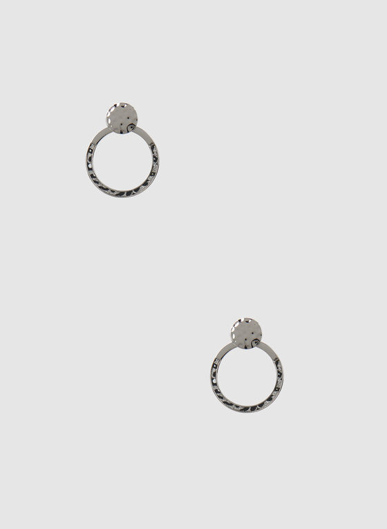 Animal Print Dangle Earrings, Grey, hi-res