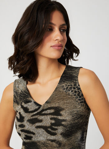 Vex - Animal Print Sleeveless Top, Brown, hi-res,  top, vex, animal print, v-neck, short sleeves, knit, fall 2019