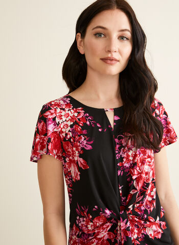 Floral Print Tie Detail Top, Black,  top, scoop neck, slit, tie, floral, short sleeves, jersey, spring summer 2020