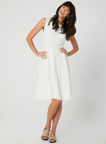 Sleeveless Fit & Flare Dress, White, hi-res