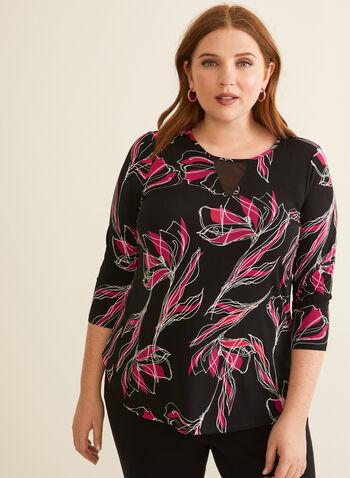 Floral 3/4 Sleeve Top, Black,  top, 3/4 sleeves, floral, mesh detail, rounded hemline, 3/4 sleeves, spring summer 2020