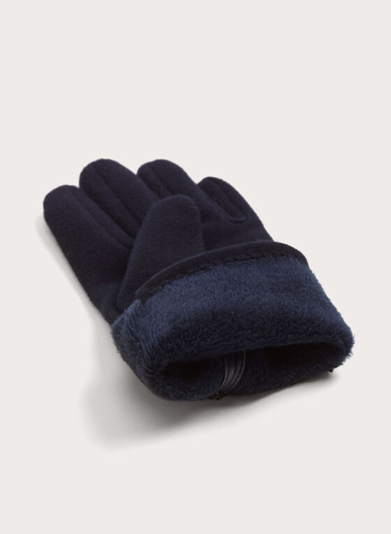 Faux Leather Button Gloves, Blue, hi-res
