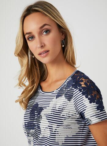 Striped Floral Print T-Shirt, Blue, hi-res,