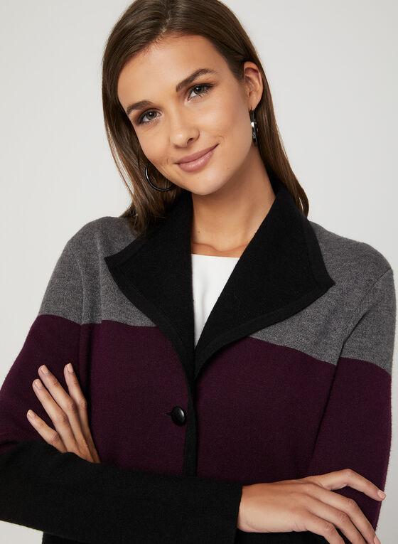 Cardigan style blazer à blocs de couleurs, Noir, hi-res