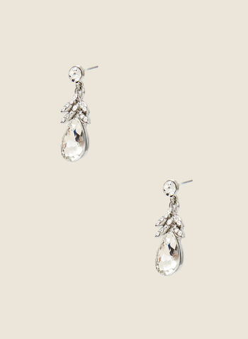 Teardrop Stone Dangle Earrings, Silver,  earrings, dangle, teardrop, faceted, crystal, fall winter 2020