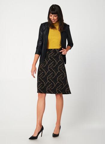 Jupe coupe A à motif chaines , Noir, hi-res,  imprimé, jersey, taille pull-on, taille élastique, à enfiler, automne hiver 2019