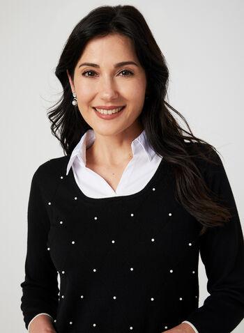 Pearl Detail Fooler Sweater, Black, hi-res,  knit, layered, pearls, ¾ sleeves, 3/4 sleeves, fall 2019, winter 2019