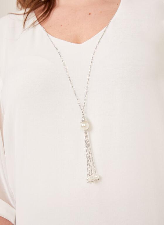 Tunique en crêpe à manches ¾ et collier inclus, Blanc cassé, hi-res