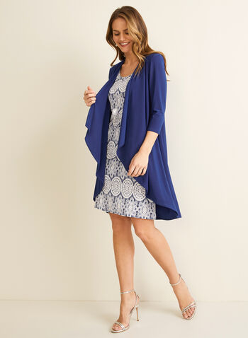Dress & Cardigan Set, Blue,  day dress, cardigan, jersey fabric, 3/4 sleeves, sleeveless, necklace