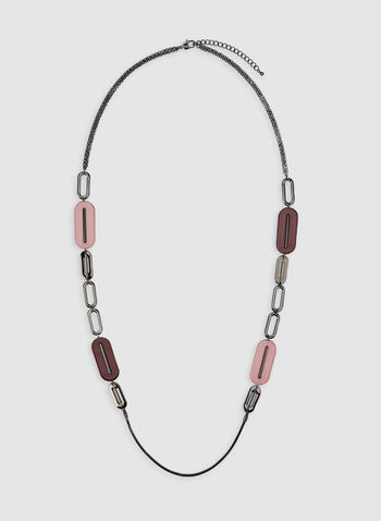 Modern Geometric Necklace, Red,  lucite necklace, long necklace