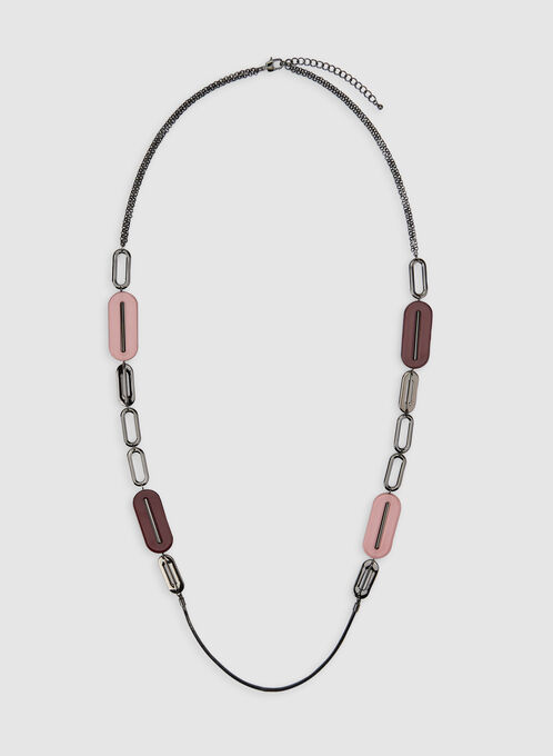 Modern Geometric Necklace, Red