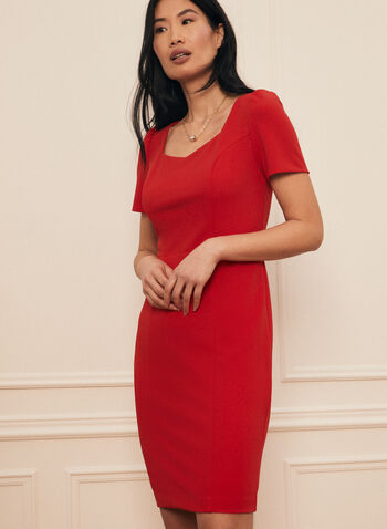 Sweetheart Neckline Day Dress, Red,  dress, day, sweetheart, sheath, short sleeves, crepe, scuba, spring summer 2021