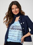 T-shirt abstrait à détails cristaux, Bleu, hi-res