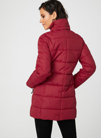 Quilted Faux Down Coat, Red, hi-res